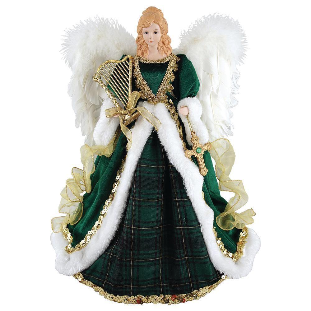 Santa\'s Workshop 16 in. Irish Angel Topper Christmas Tree Holiday ...