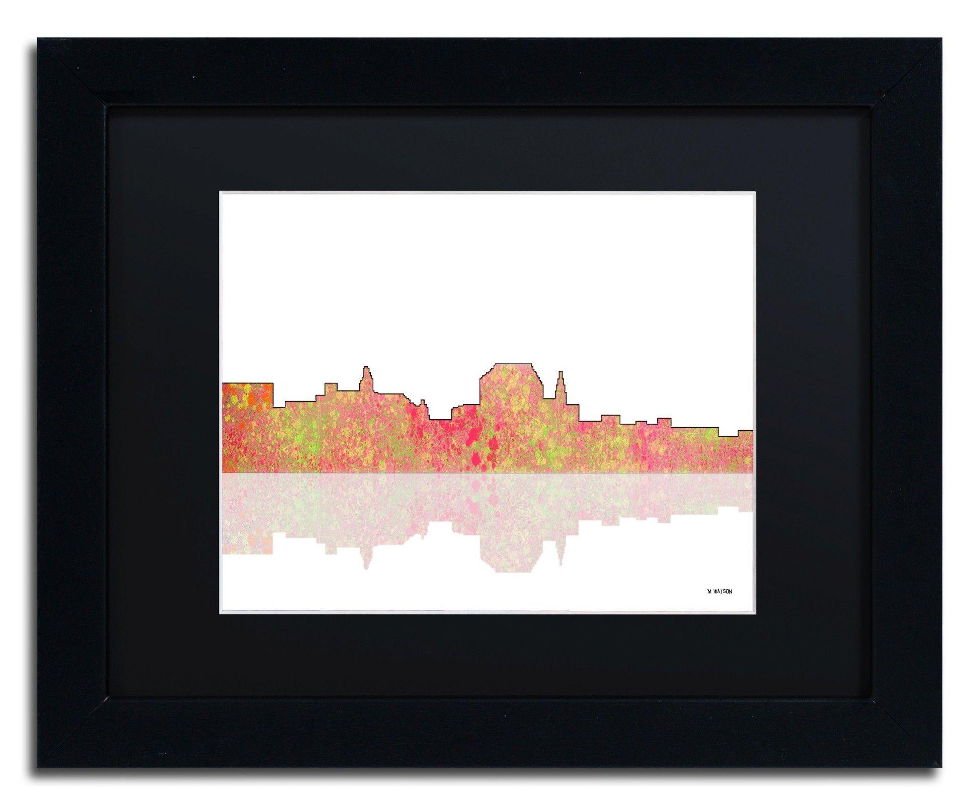 Augusta maine skyline by marlene watson framed graphic art graphic