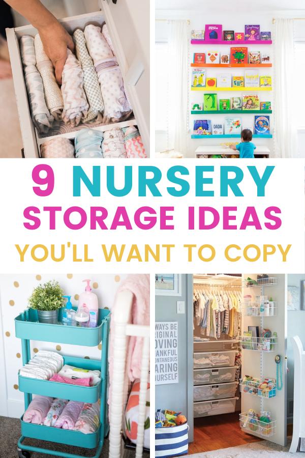 10 Nursery Storage Ideas You Ll Want To Copy Mommyhooding Nursery Storage Nursery Organization Diy Nursery Closet Organization