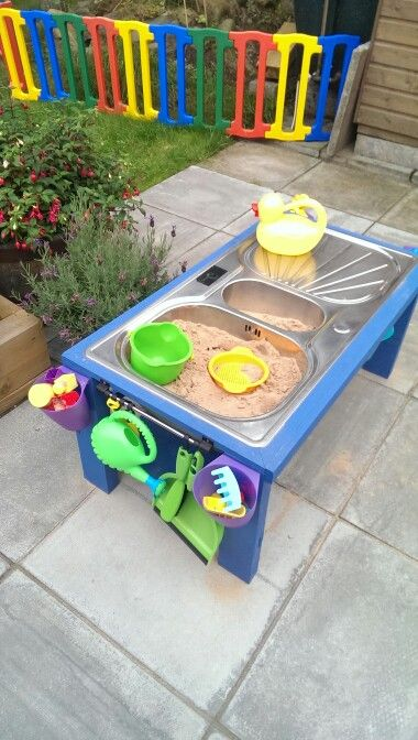 Kids play table sandpit   water play upcycled sink Made this in one