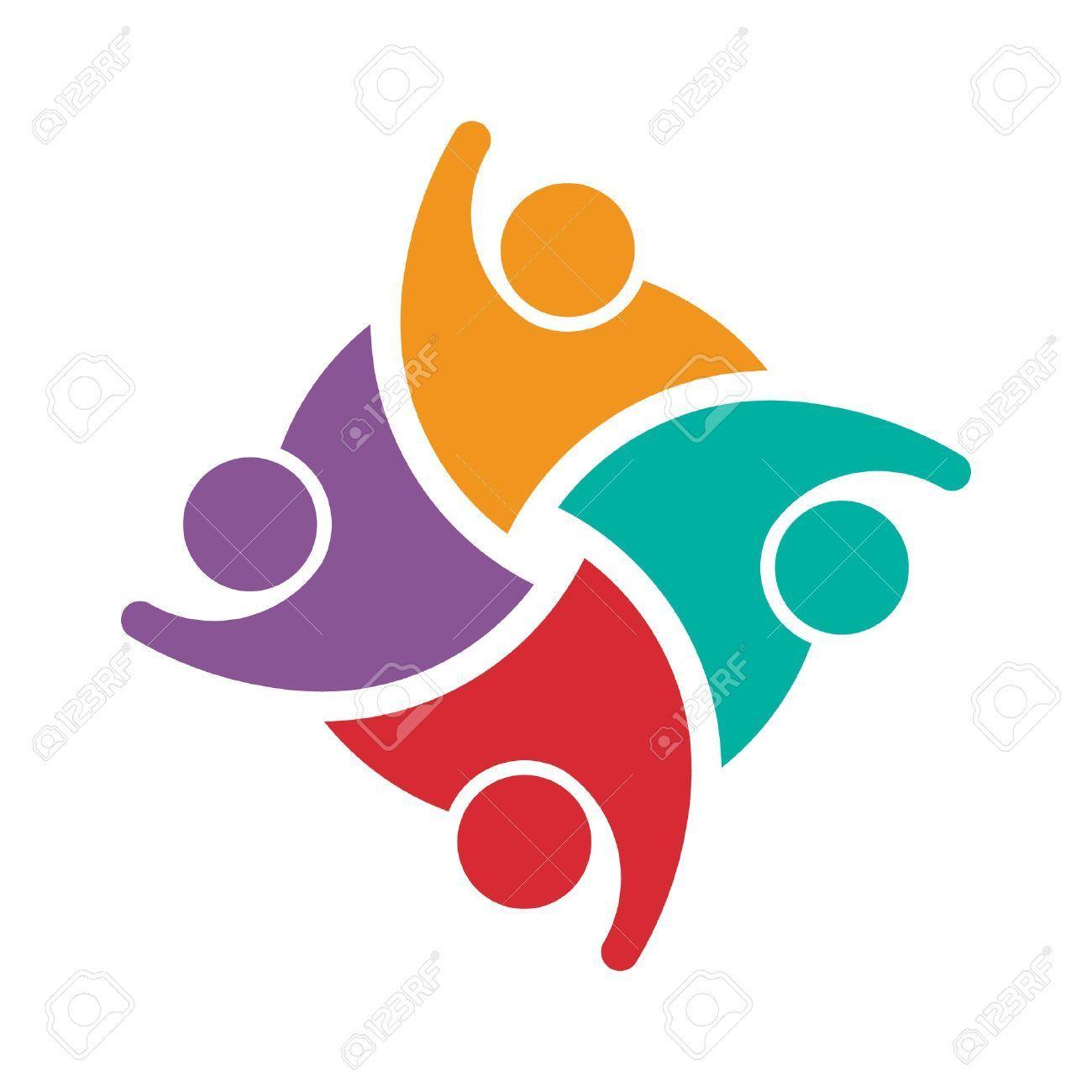 00b4729298a2 Teamwork of 4 swoosh people. Concept of group of people collaboration..   people  group  teamwork  family  children  kids  team  meeting  business   partner ...