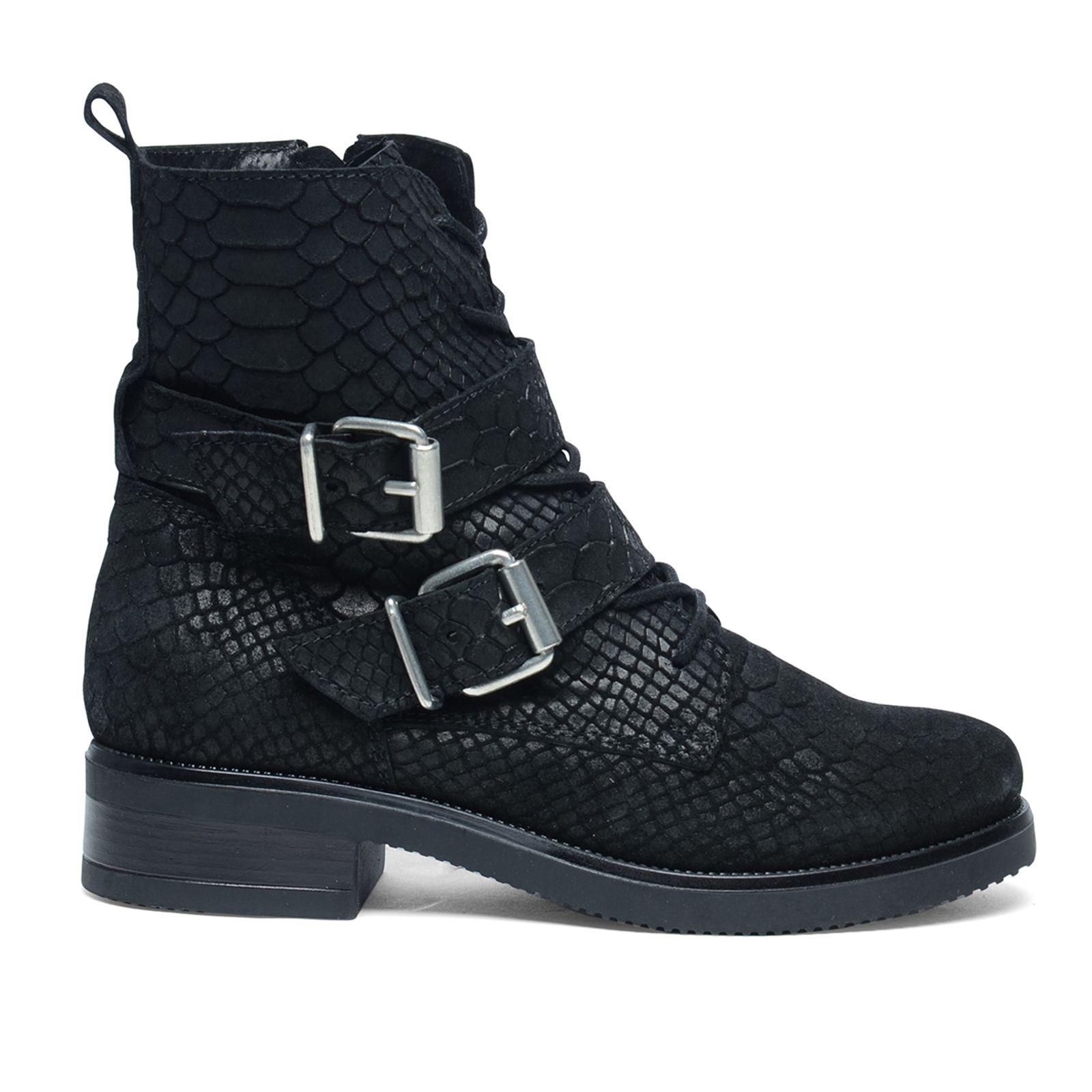 bottines à lacets croco avec boucles - noir | mode femme