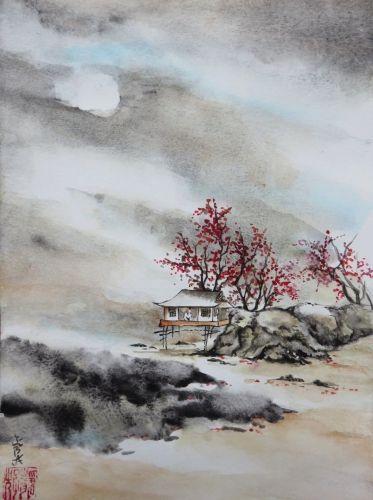 Aquarelle Abby Cabane Arbres Mer Peinture Chinoise Rochers Plage