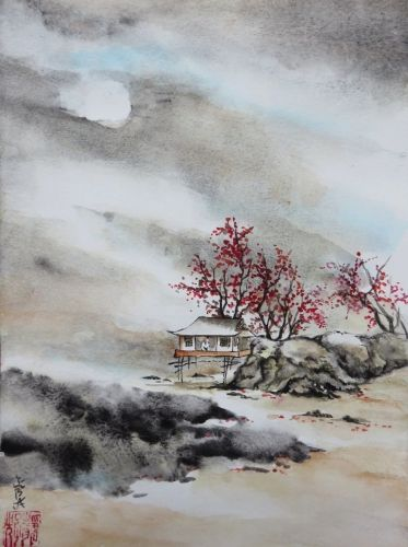 Aquarelle Abby Cabane Arbres Mer Peinture Chinoise Rochers Plage