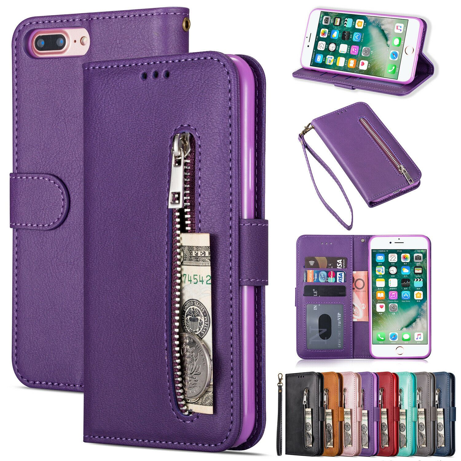 Apple Iphone 7 and 8 PLUS Phone Leather Flip Case Card Holder Magnetic Strap Wallet Cover Cerise Pink