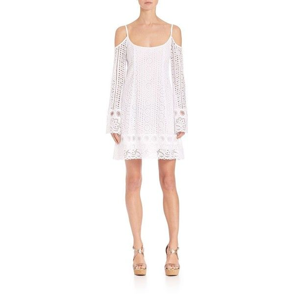 Nanette Lepore Crocheted Minidress (1.575.485 COP) ❤ liked on Polyvore featuring dresses, apparel & accessories, white, beach dress, white cut out dress, long sleeve dress, white long-sleeve dresses and white cutout dress