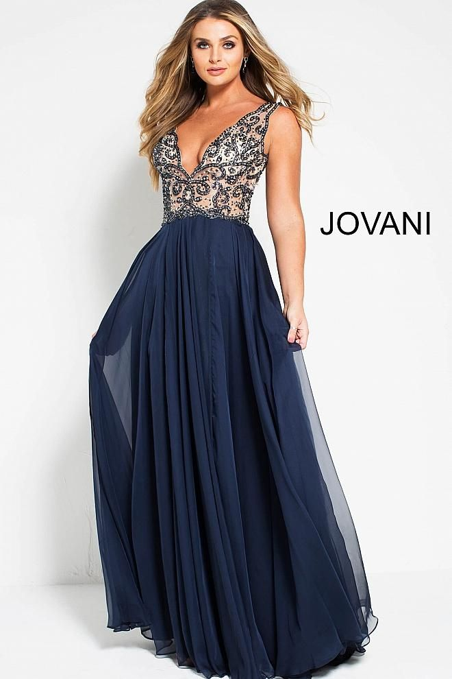 9bdcacf4d7b Navy blue beaded bodice with plunging v neck line and a line chiffon gown.
