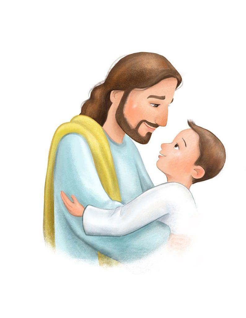 Baptism Gift For Little Boy Christ Hugging Child Cartoon Illustration Printable File Lds Mormon Latter Day Saint Primary Kid Regalos De Bautismo Ilustraciones De Dibujos Animados Dibujos