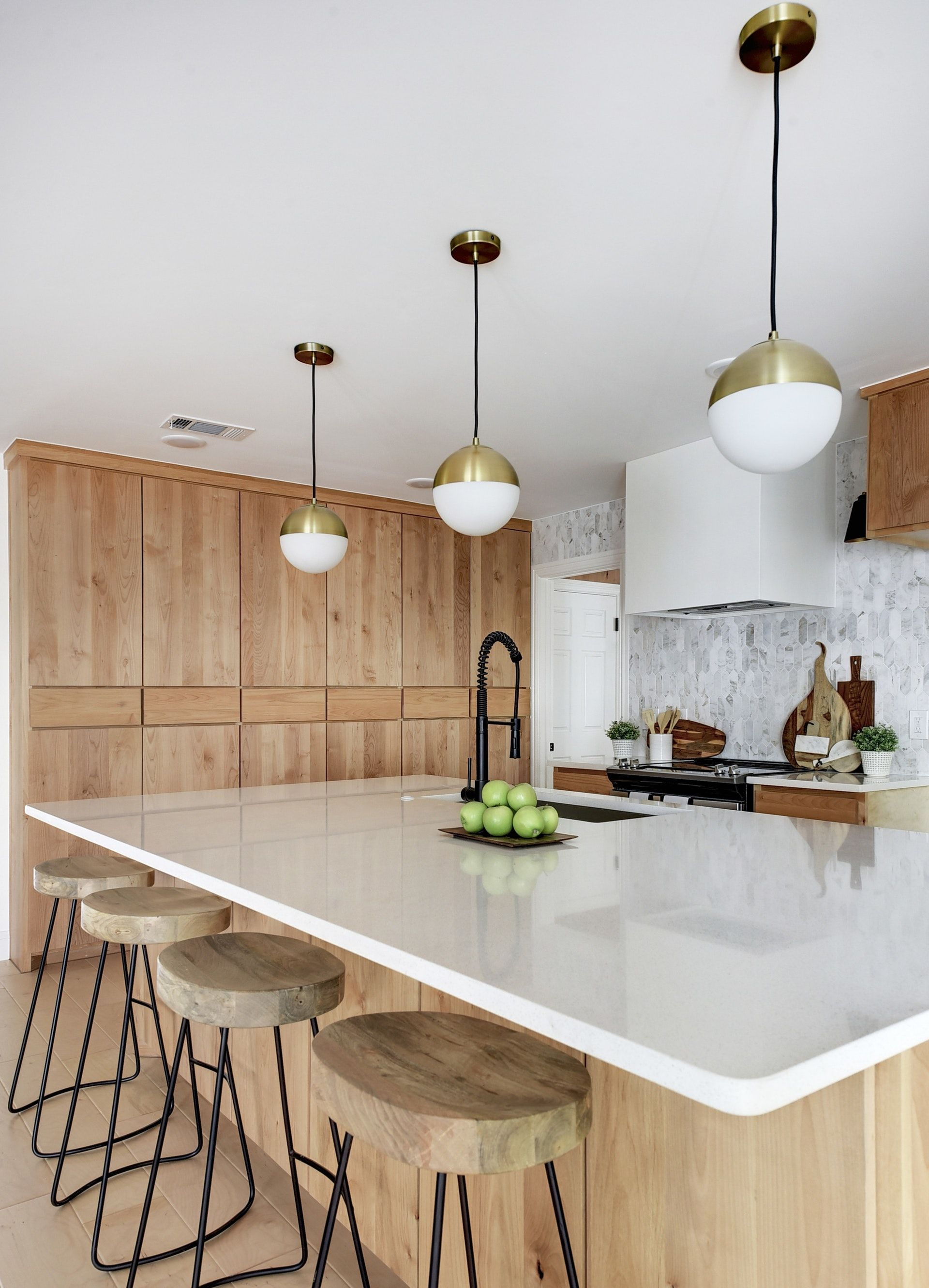 Open Kitchen With Flat Front Natural Alder Wood Cabinets Light Wood Floors Globe Pendants With Wh Alder Kitchen Cabinets Light Wood Kitchens Kitchen Flooring