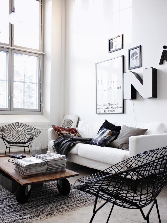 Silla metálica retro cojin blanco bertoia | Pinterest | Living rooms ...