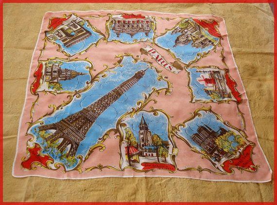 Vintage Souvenir Scarf PARIS Attractions Large by Queenofbigideas, $15.00