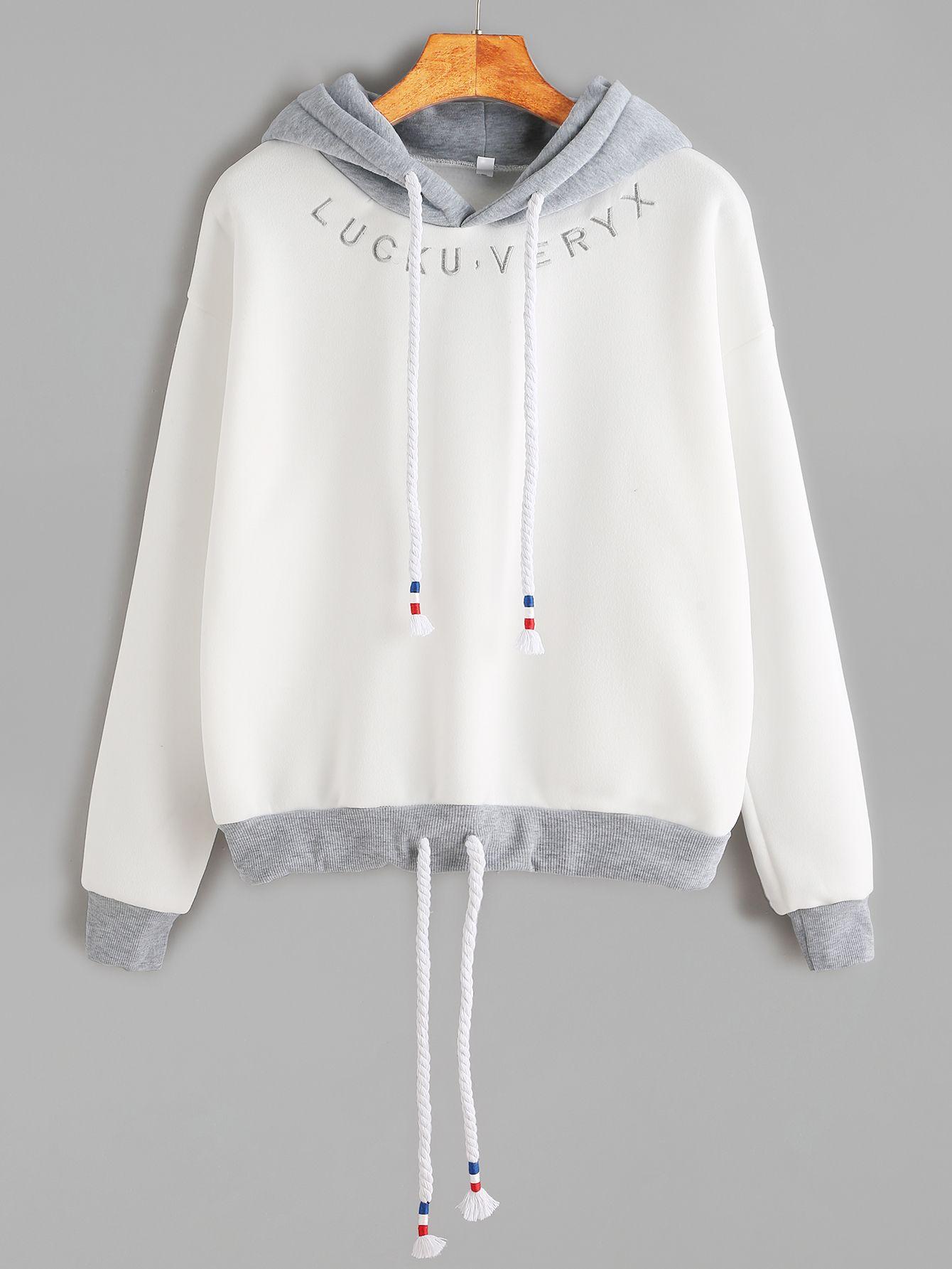 Sudadera ribete en contraste bordado de letra y capucha - blanco-Spanish  SheIn(Sheinside) Sitio Móvil 44bb4c9b895