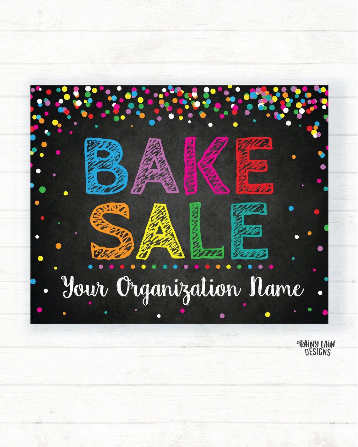 Bake Sale Sign, Custom Bake Sale Poster, Fundraising Booth Sign, Fundraising Poster, Digital, Custom Banner, Chalkboard, Rainbow Confetti #bakesaleideas