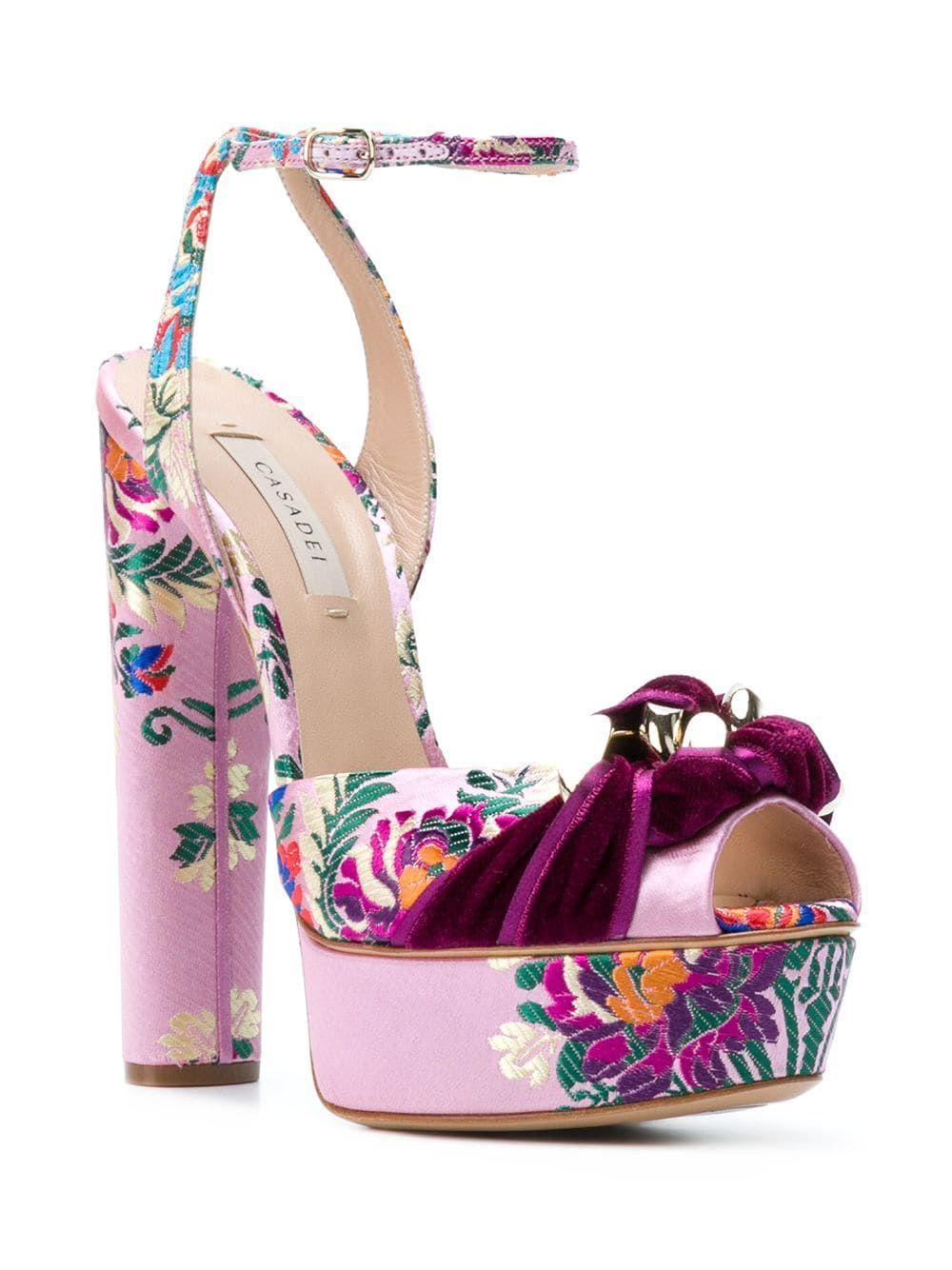 Hot Womens Open Toe Floral Embroidery Platform Wedge Heel Shoes Sandal Slingback