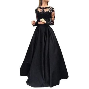 23fd19dfdd4d0 Skirts Womens Black Big swing skirt Long Maxi Skirt Lace Blouse Setliilgal