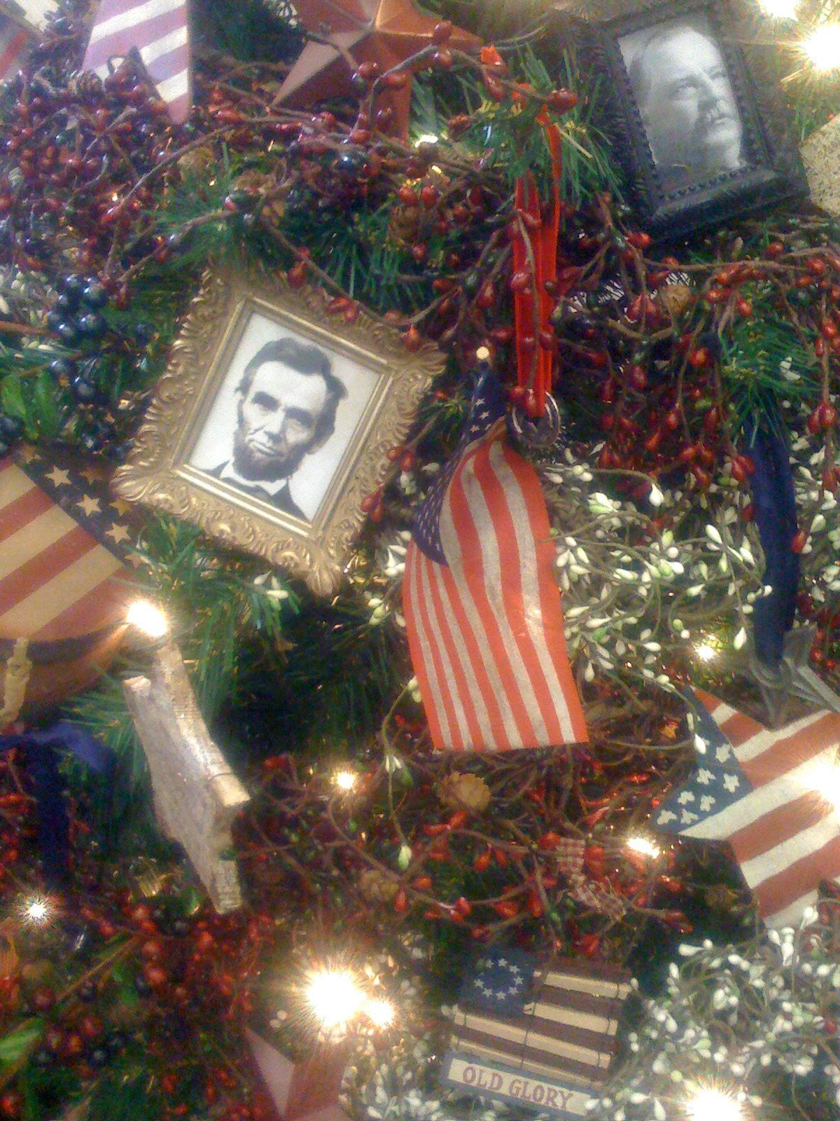 An Americana Christmas Tree Patriotic Christmas Tree Patriotic Christmas Patriotic Christmas Decorations