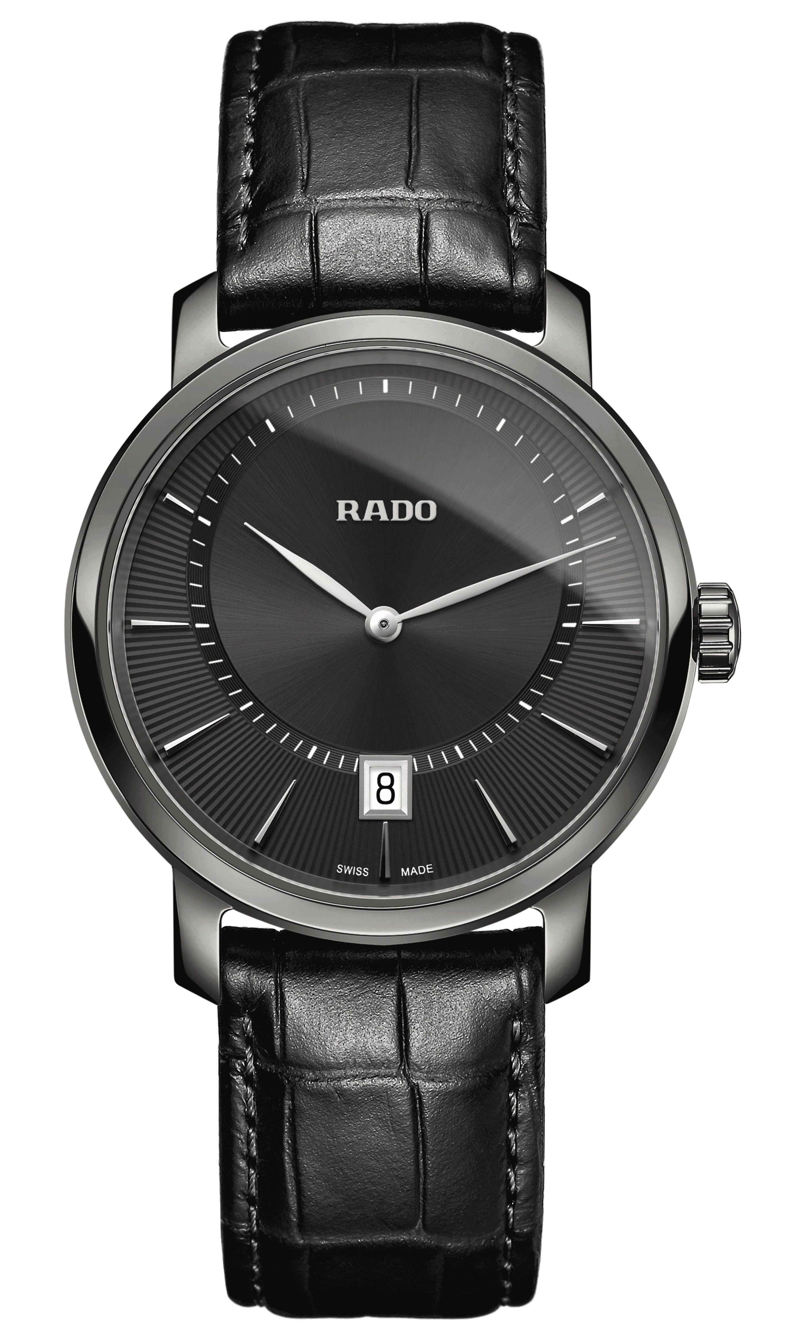 Rado Xl Diamaster Online Black Leather Strap Leather Straps Watches Unique