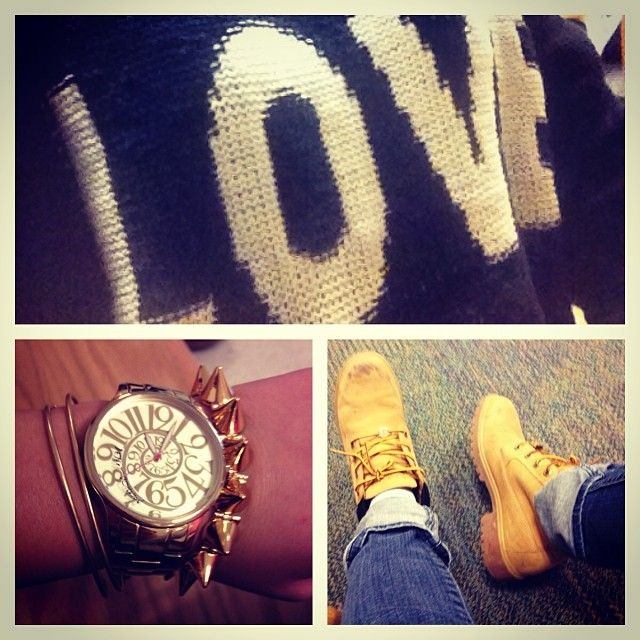 Timberlands can look adorable with an oversized sweater, jeans, and some arm candy!