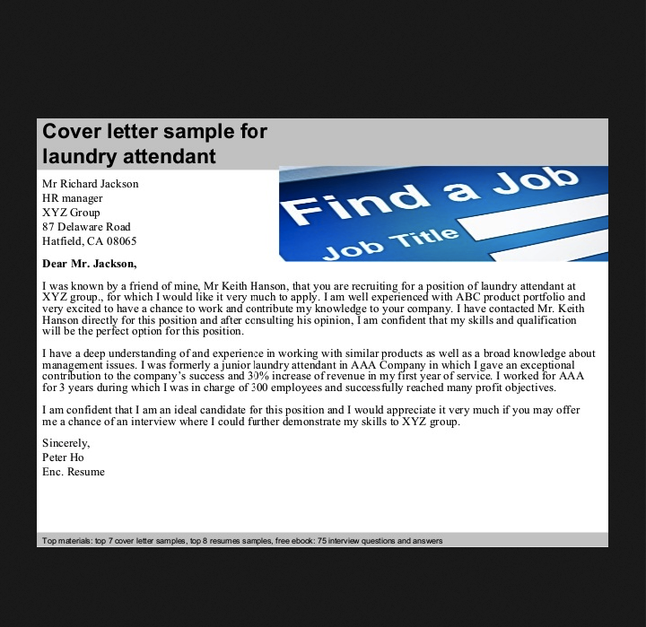 this example laundry attendant cover letter we will give you a refence start on building resumeyou can optimized this example resume on creating resume for - Linen Attendant Sample Resume