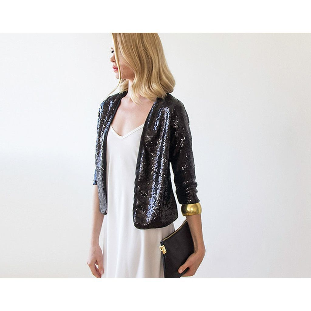 Black Sequin long sleeves sparkling jacket | Products | Pinterest ...