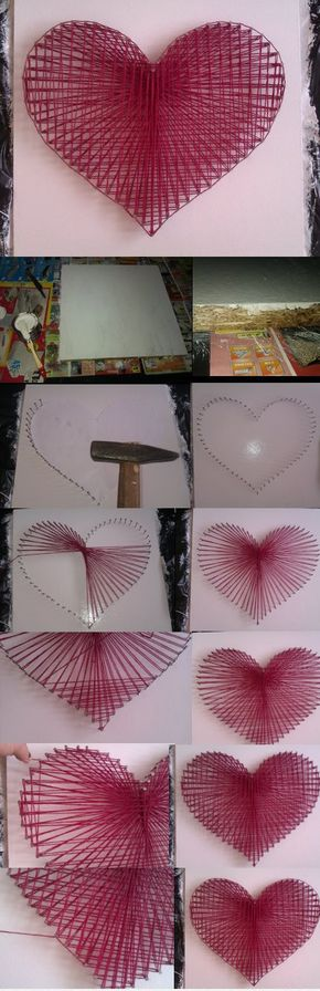 DIY String Heart   Materials Needed: piece of wood, string, box of nails, spray paint to paint the wood, white paper to draw the heart on