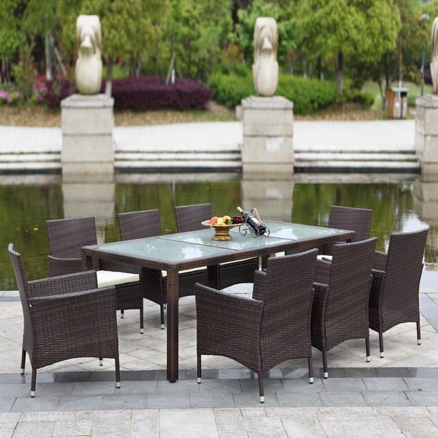 iKayaa 9PCS Rattan Outdoor Dinning Table Chair Set Cushioned Garden