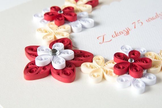 Beautiful 75th Birthday Card Quilling Quilled Floral Keepsake Personalized Custom Elegant Delicate Simple Unique Handmade Gift Her Red Cream