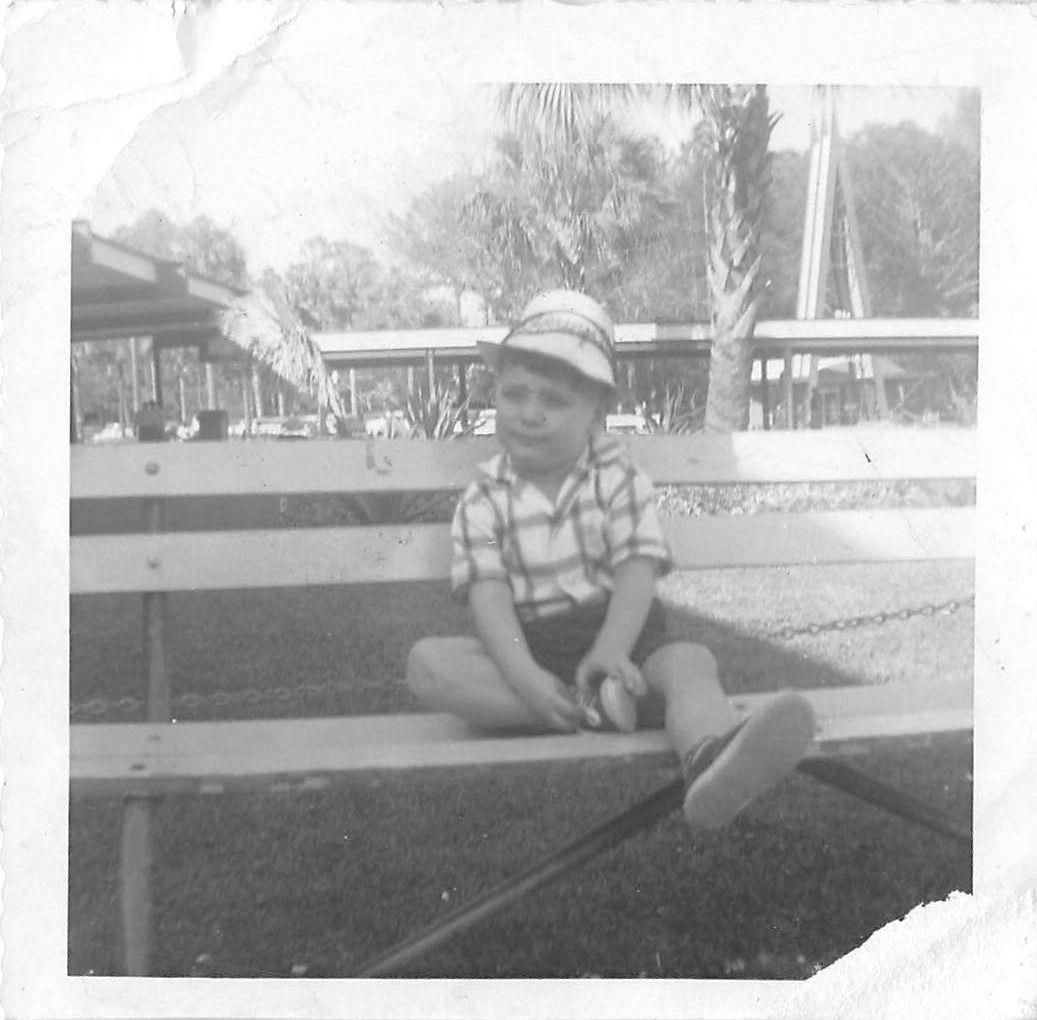 Photograph Snapshot Vintage Black and White Boy Hat Bench Cute Park 1950'S | eBay