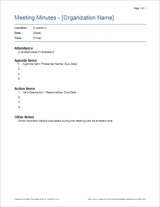 Wonderful Download The Basic Meeting Minutes Template From Vertex42.com  Minutes Notes Template