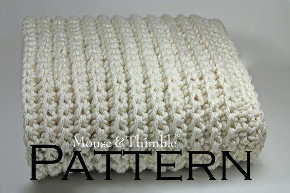 Crochet Pattern Furrow Blanket 4 Sizes Baby To Sofa Throw