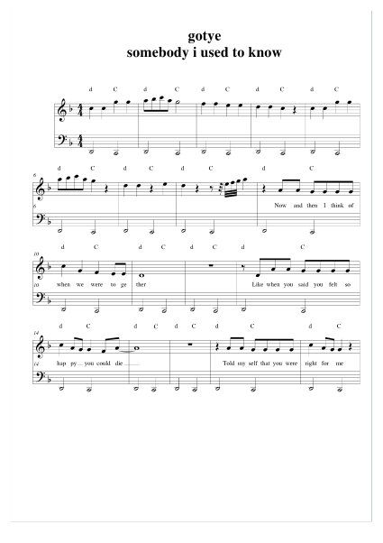 Somebody That I Used to Know Piano Sheet Music FREE