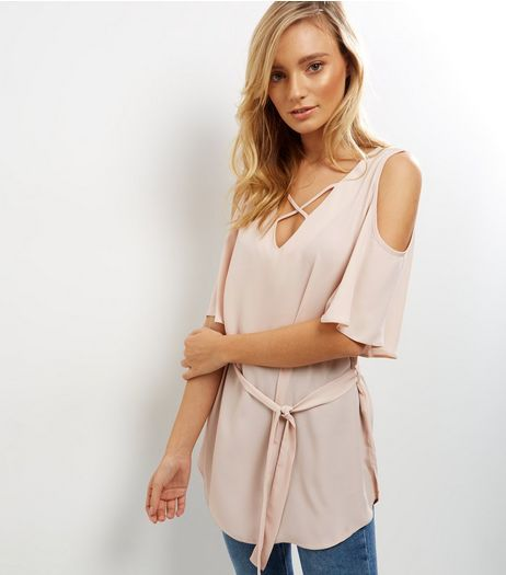 Shell Pink Lattice Front Cold Shoulder Belted Top | New Look