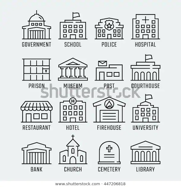 Government Buildings Vector Icon Set Thin Stock Vector Royalty Free 447206818 Icon Set Vector Icon Set Vector Icons