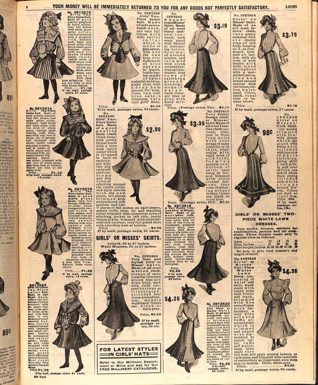 A page of girl's fashion from the Sears Catalog, Spring 1904.