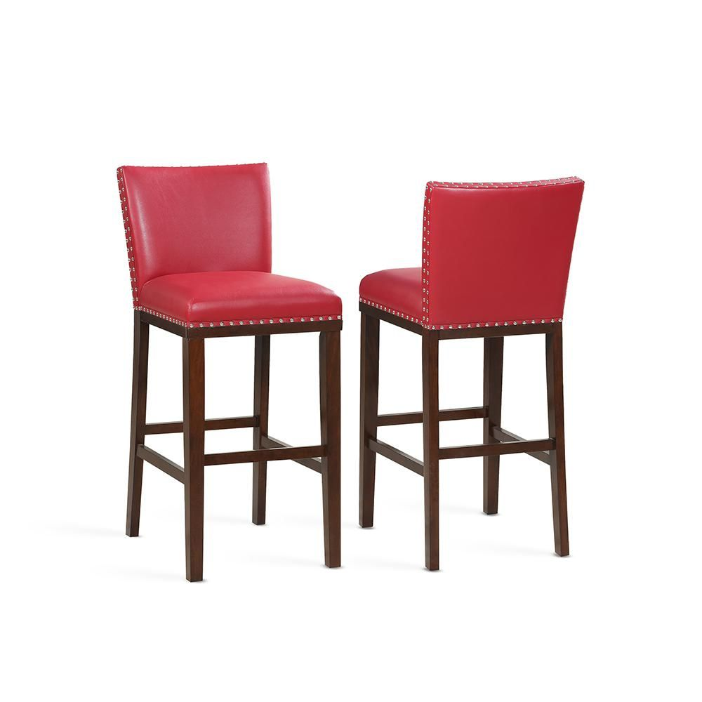 Steve Silver Tiffany 30 In Red Contemporary Bar Stool Set Of 2 Tf650bcrd The Home Depot Red Bar Stools Contemporary Bar Stools Bar Stools