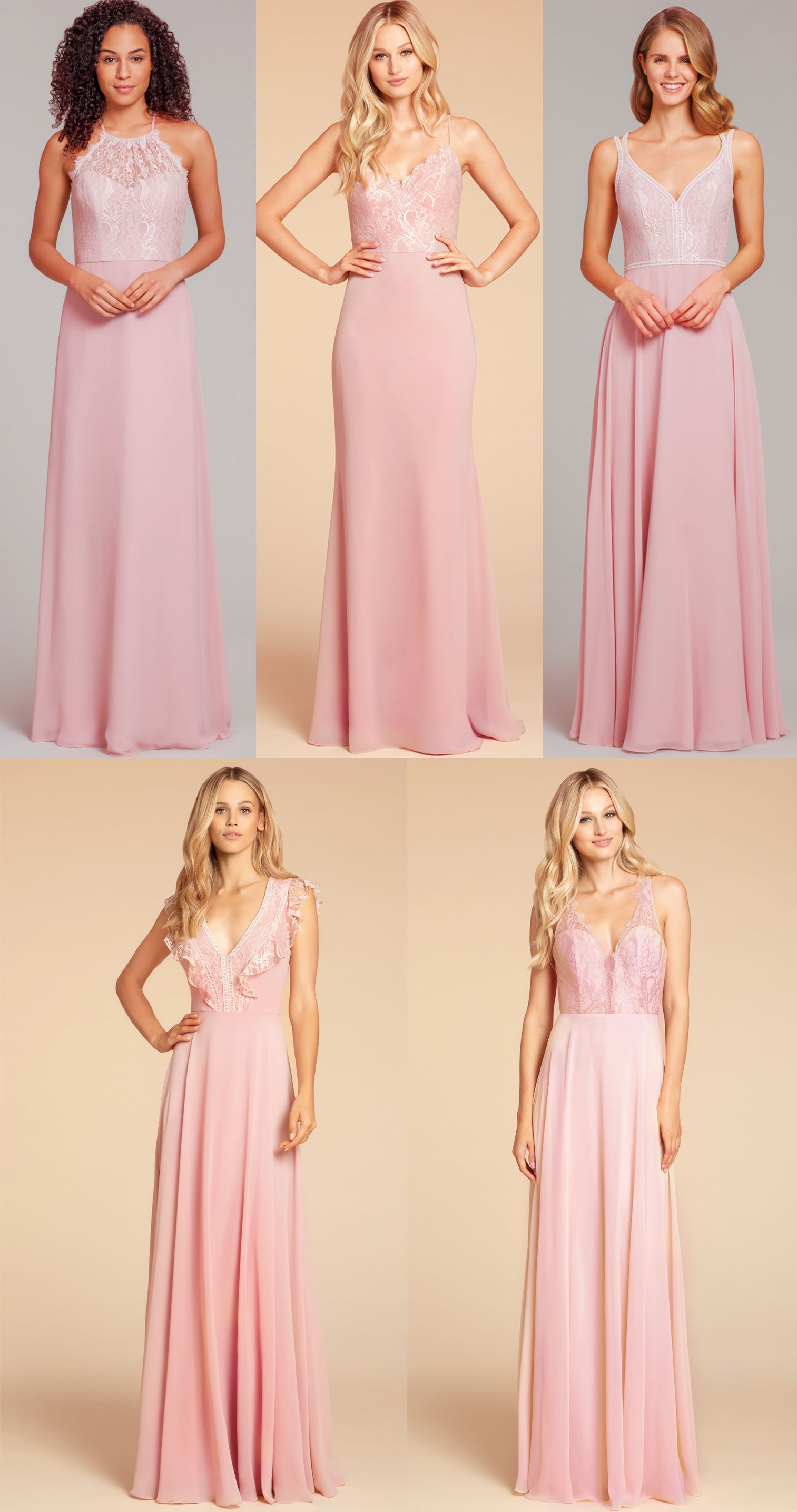 ce5fbcb8ad2d Hayley Paige Occasions bridesmaids gown blush dusty rose lace detail bridesmaid  dresses - Style 5861, 5905, 5864, 5912, and 5919
