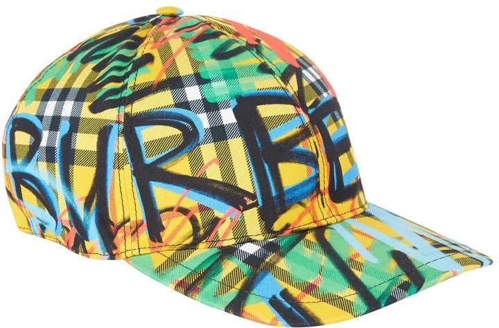 176b9936045 Burberry Graffiti Scribble Check Baseball Cap