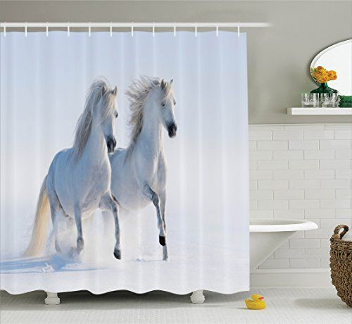 Horses Shower Curtain Set Animal Decor By Ambesonne Galloping Rare Spotted Horses In Snow Domin Horse Shower Curtain Shower Curtain Sets Animal Decor