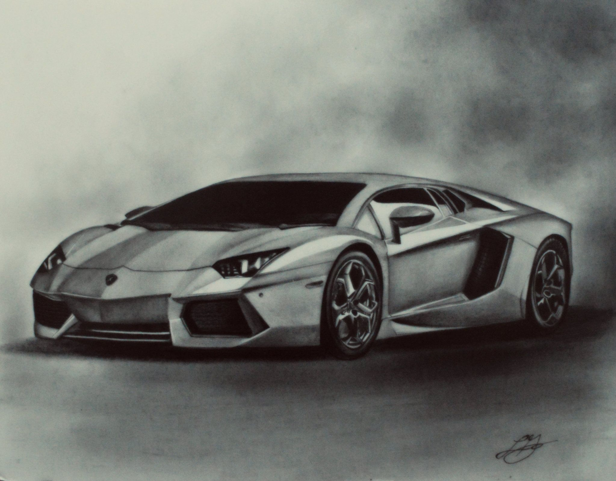 Tonal Drawing Of A Lamborghini Car Drawings Car Drawing Pencil Pencil Drawings