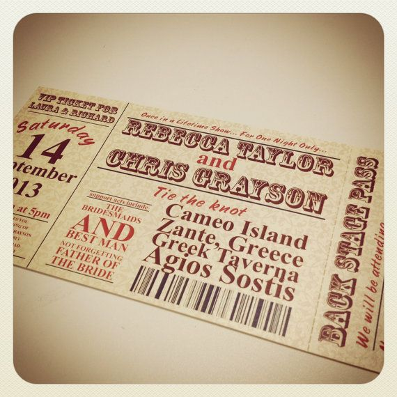 Concert Ticket Style Wedding Invitation \ RSVP by WhyteWeddingsUK - invitations that look like concert tickets