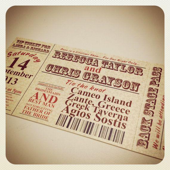 Concert Ticket Style Wedding Invitation \ RSVP by WhyteWeddingsUK - invitations that look like concert tickets