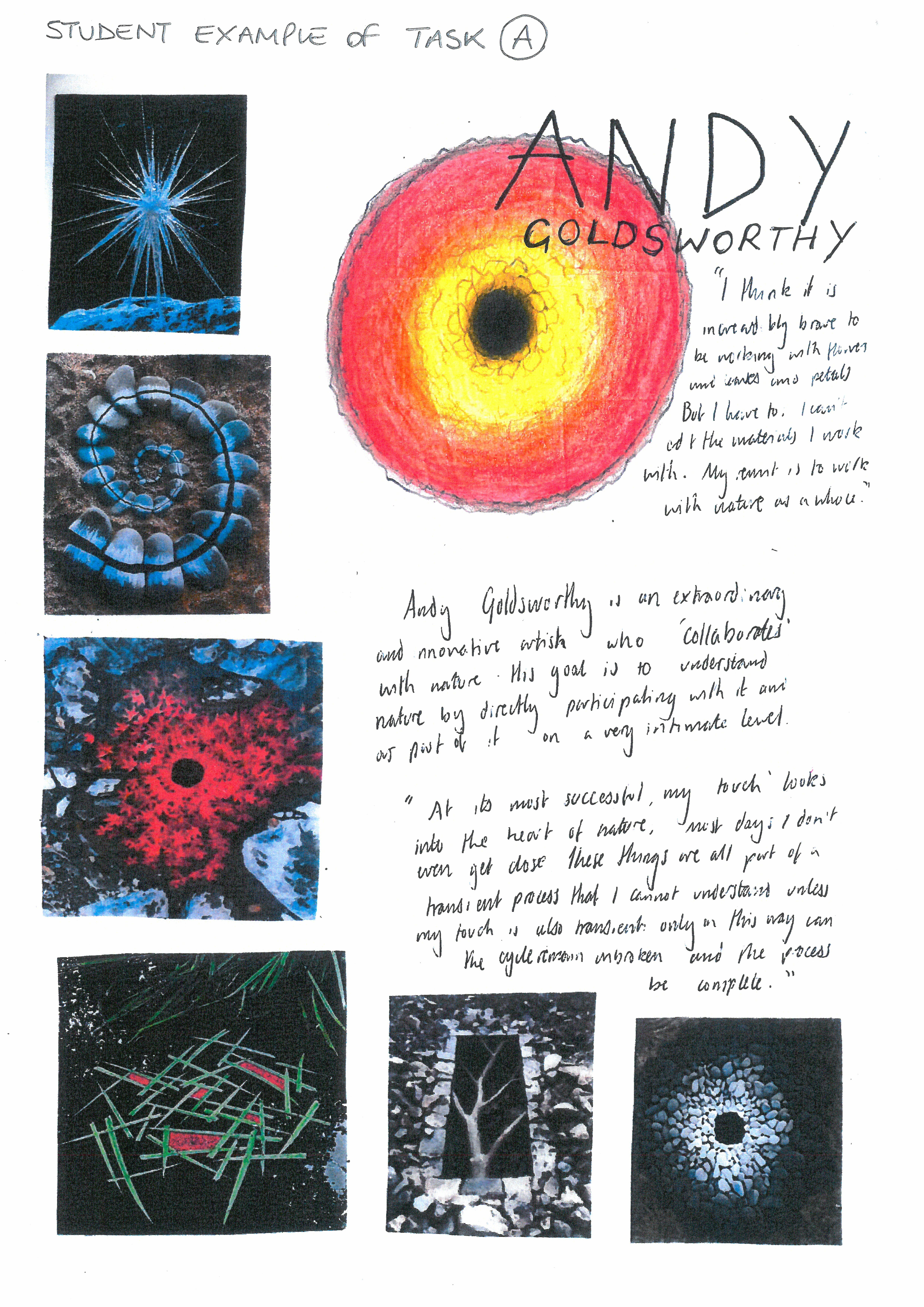 student support booklet natural forms - artist research page 3 | art