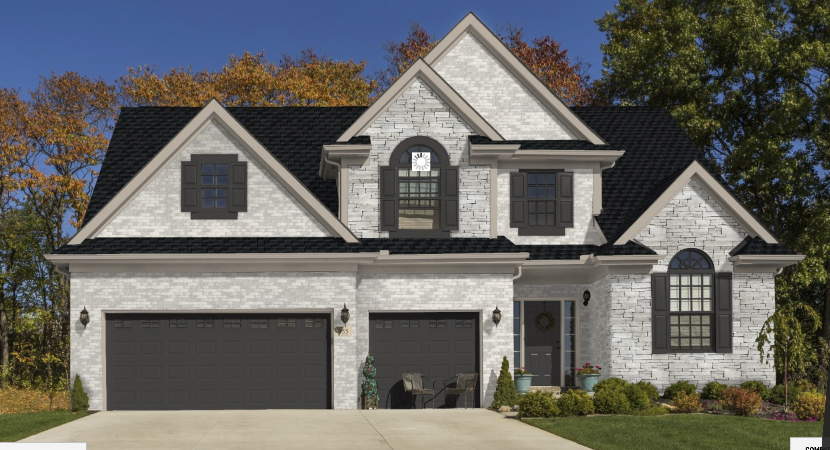 Shade Of White Brick With Dark Roof And Gray White Stone With Light Colored Mortar Brick Exterior House Brick House Trim White Brick Houses