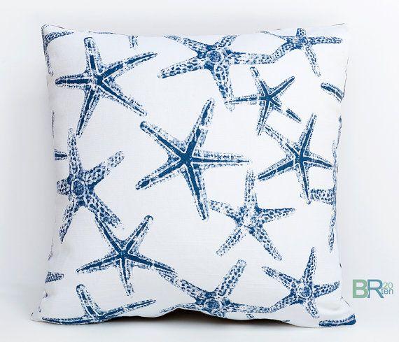 Navy Blue And White Starfish Reversible Pillow Cover Nautical Pillow Coastal Decor Beach Ocean Deco Coastal Throw Pillows The Pillow Collection Coastal Pillows