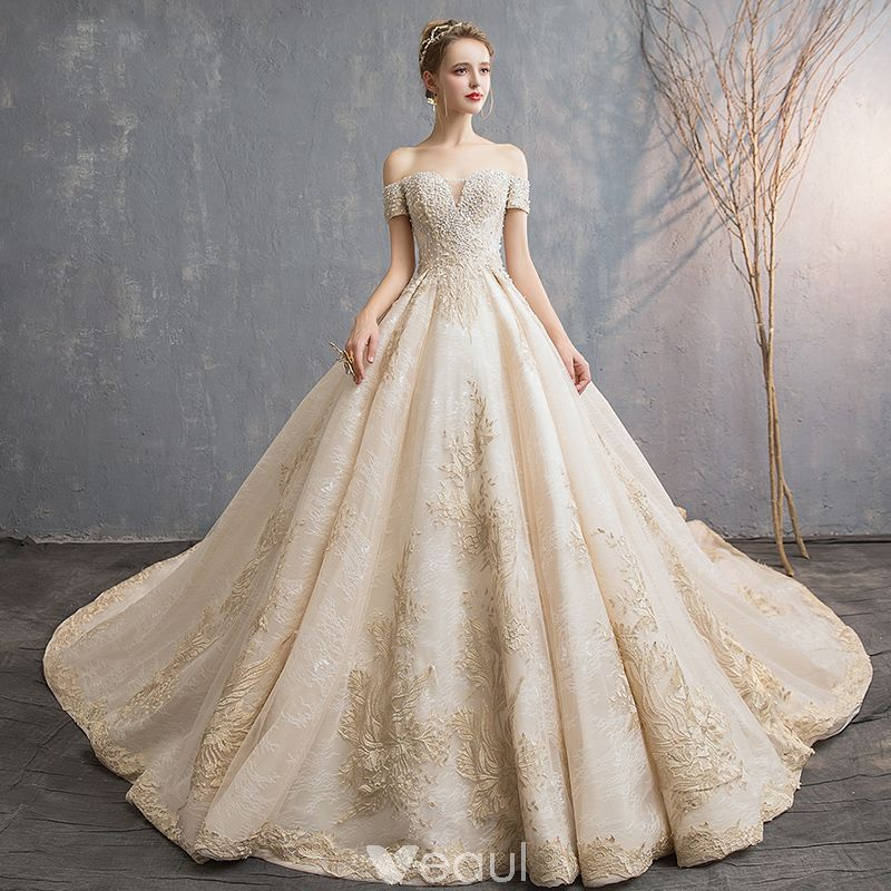 2896de76e05fc Luxury   Gorgeous Champagne Wedding Dresses 2019 A-Line   Princess  Off-The-Shoulder Short Sleeve Backless Appliques Lace Beading Pearl Sequins  Cathedral ...
