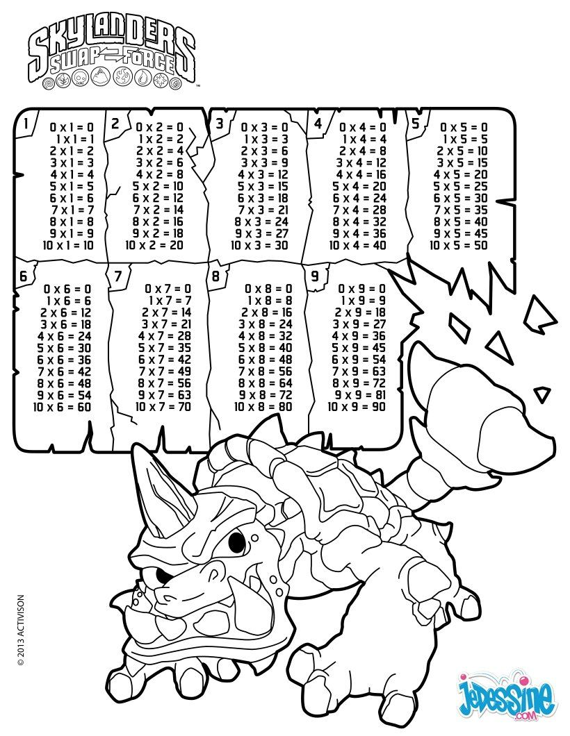 Multiplication Table Skylanders coloring page School