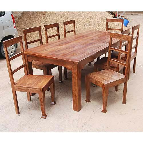 Rustic 8 person large kitchen dining table solid wood 9 pc for Solid wood dining table sets