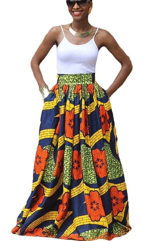 Jupe Longue En Pagne Africain Colore Fleurie Imprime Pas Cher Www