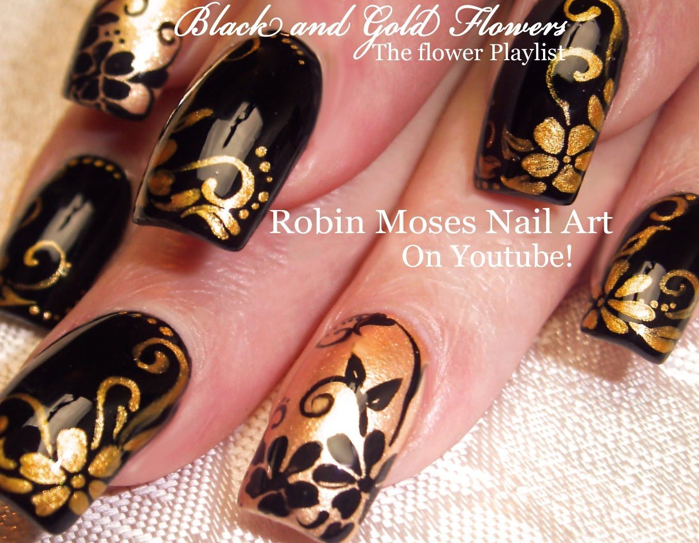 Nail Art Tutorial | Flower Nails | Black and Gold Flower Nail Design ...