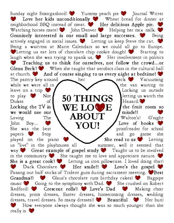Things We Love About You Printable poster Gift Birthdays | Etsy